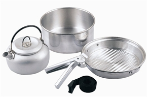 4pc Silver Cook Set by Camping.co.uk