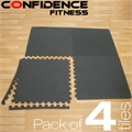 4 x Confidence EVA Gym Interlocking Floor Tiles