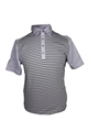 ASHWORTH MENS STRIPE POLO W/ PLAIN SLEEVES