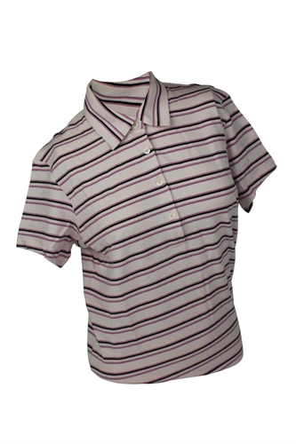 Ashworth Ladies 4 Button Striped Polo Shirt The Sports Hq