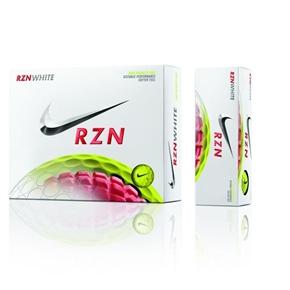 Nike RZN White Golf Balls - Volt Yellow 1 Dozen