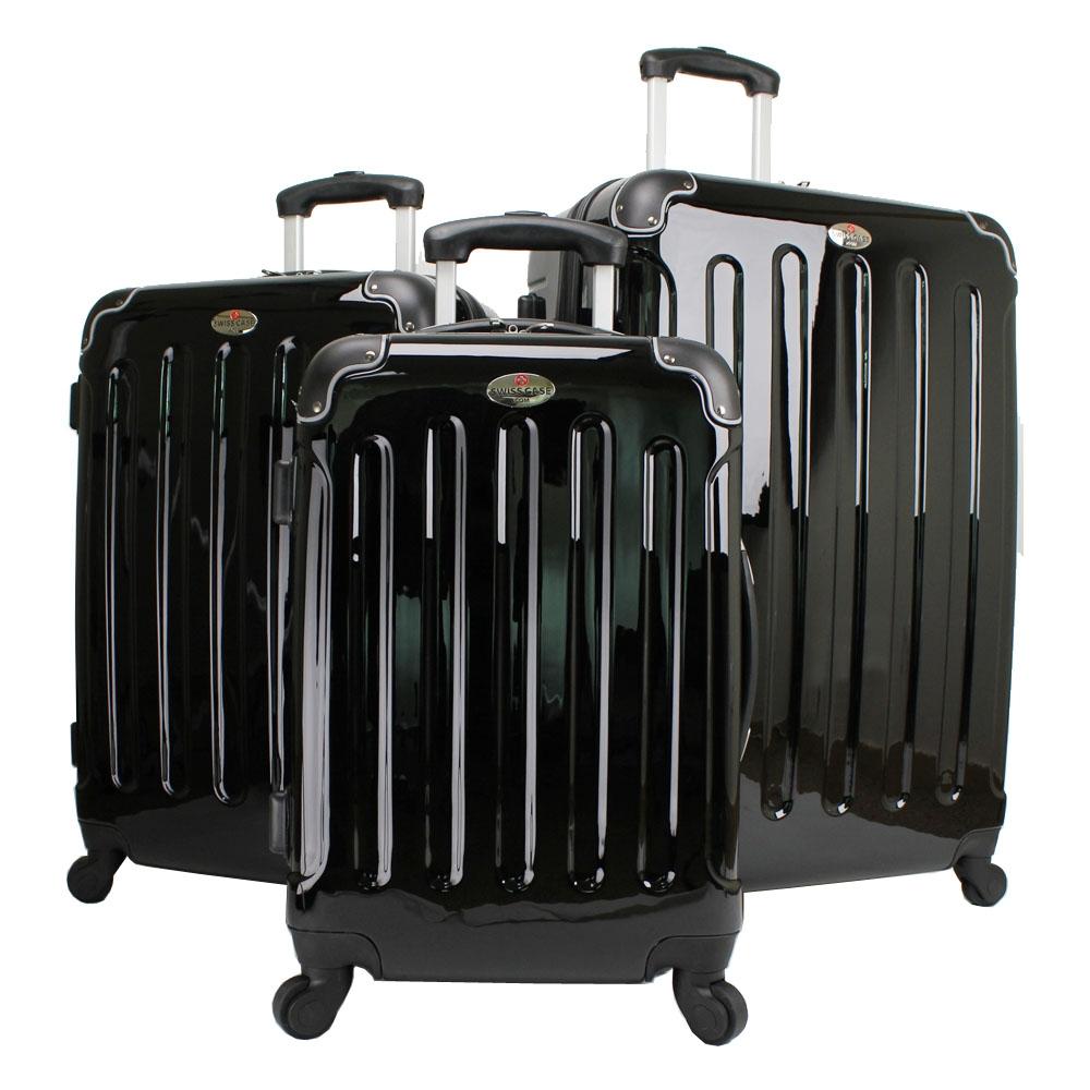 swiss case 4 wheel spinner abs 3 piece luggage set black. Black Bedroom Furniture Sets. Home Design Ideas