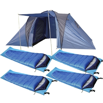 confidence vocation 2 bedroom 4 man tent with sleeping bags mats