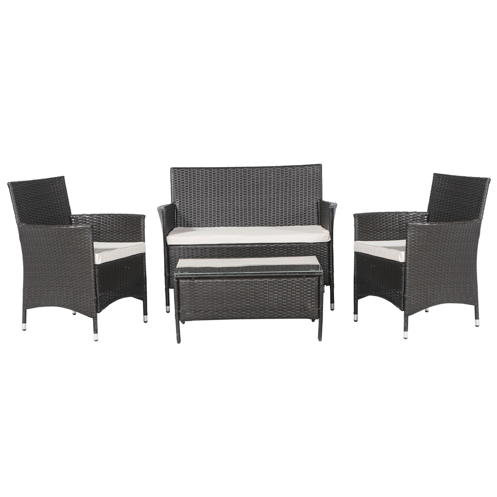 Palm Springs Garden Furniture Rattan Wicker Sofa Set W Chairs Table Cushions Ebay