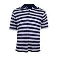 Woodworm Pro Striped Polo Navy