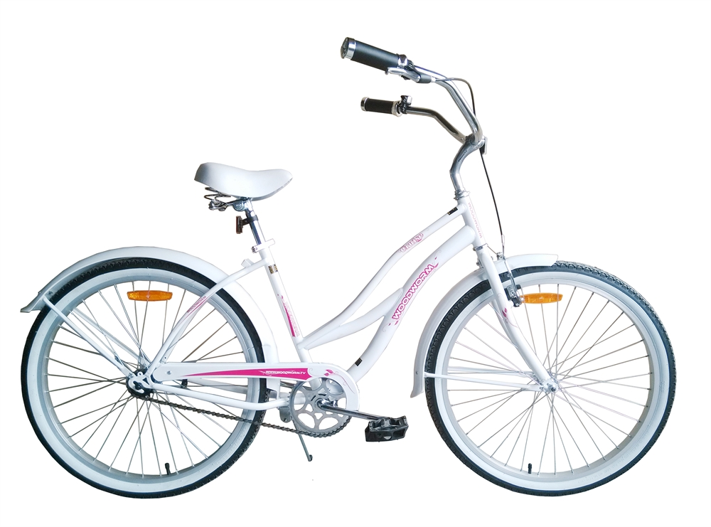 Woodworm-Beach-Cruiser-Bicycle-26-66cm-Ladies-Bike-White-Pink