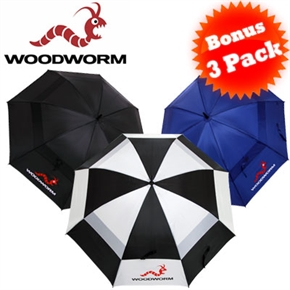 3 Woodworm Double Canopy Golf Umbrellas
