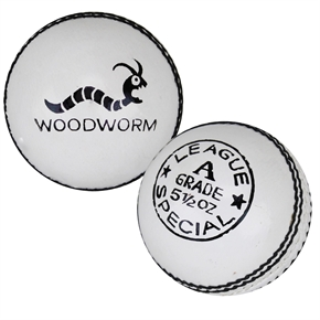 Woodworm League Special 5 1/2oz Cricket Ball WHITE