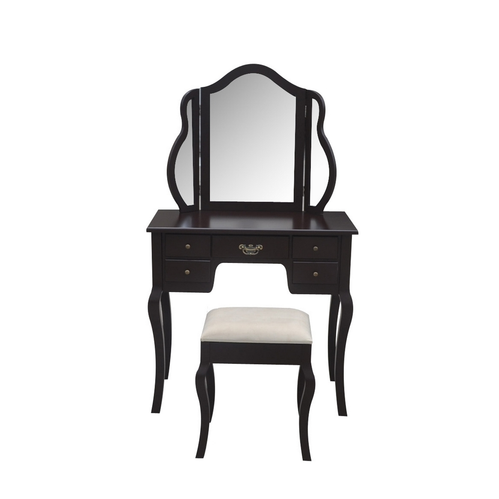 Homegear Venetian 5 Drawer Dressing Table Tri Fold Mirror