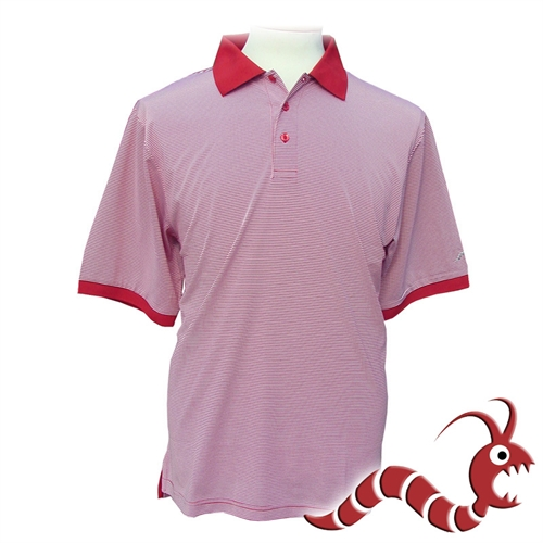 Woodworm golf striped polo shirt red white the sports hq for Red white striped polo shirt