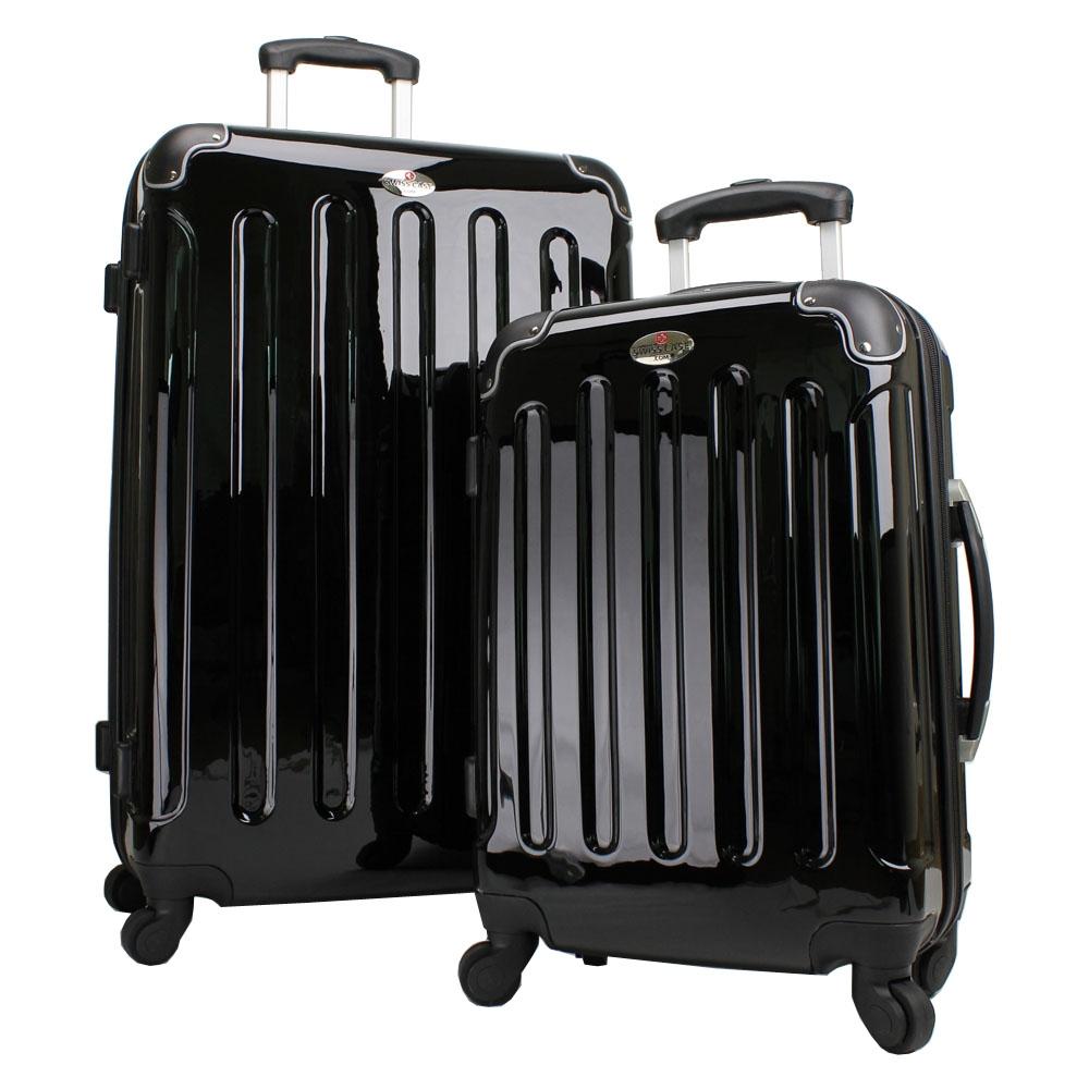 swiss case 4 wheel hard 2pc suitcase set. Black Bedroom Furniture Sets. Home Design Ideas
