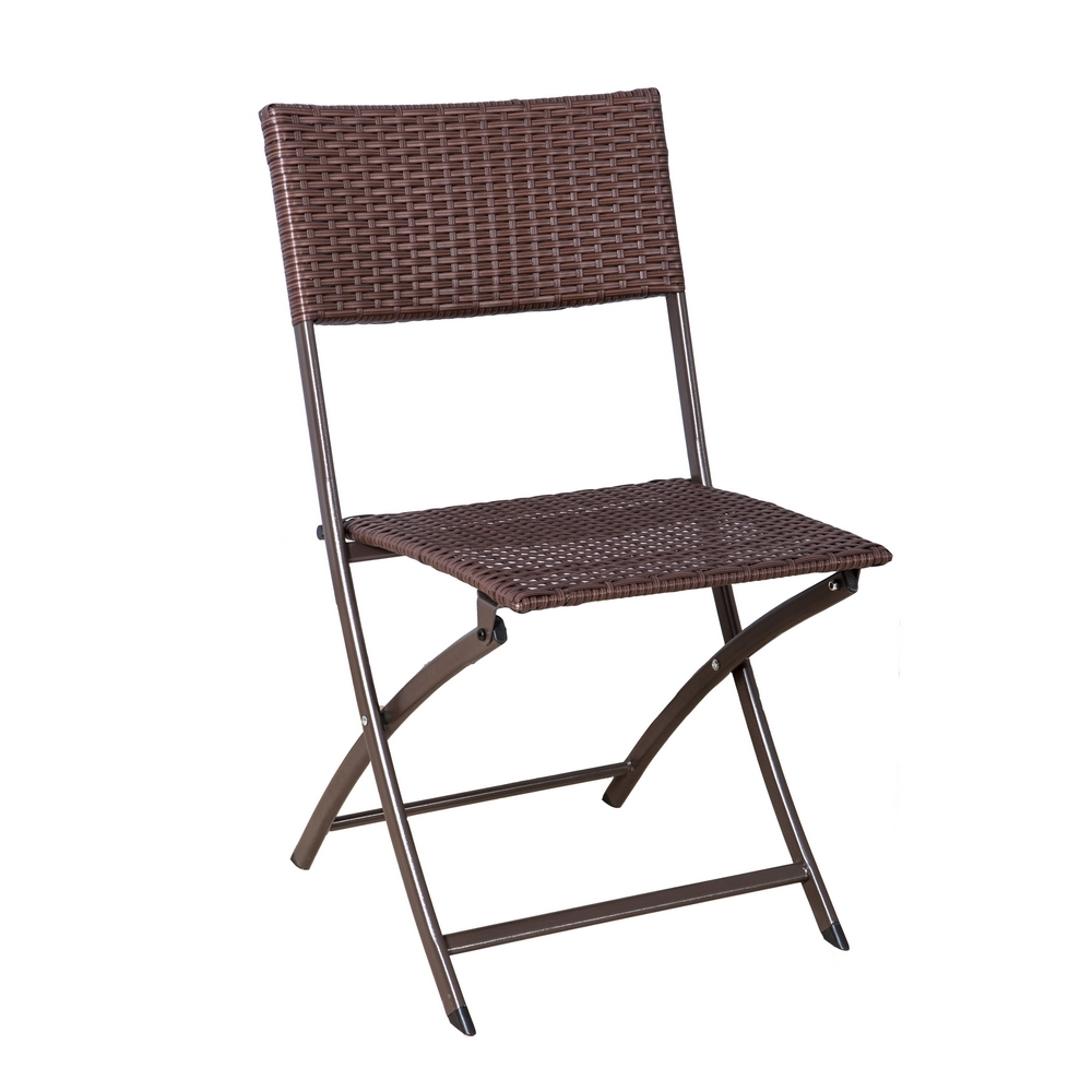 Palm springs garden furniture rattan wicker folding bistro set w chairs table ebay - Cane bistro chairs ...