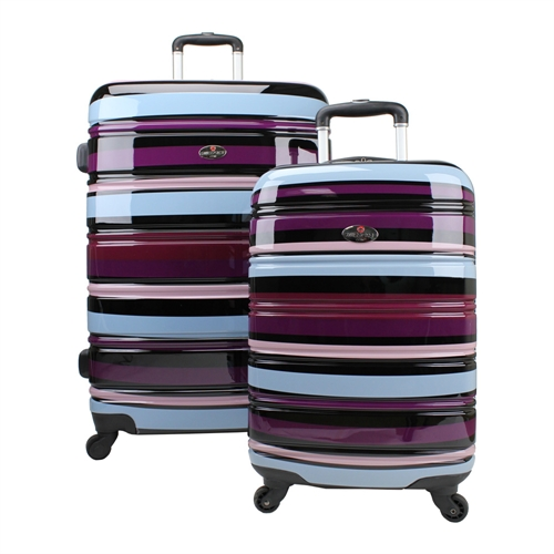 swiss case 4 wheel 2pc hard suitcase set purple the. Black Bedroom Furniture Sets. Home Design Ideas