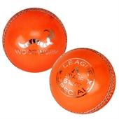 6 x Woodworm League 5 1/2oz Cricket Balls ORANGE - Image 1