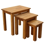 Homegear Solid Oak Nest of Tables